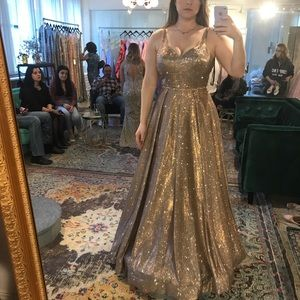 Bronze sparkly a line dress